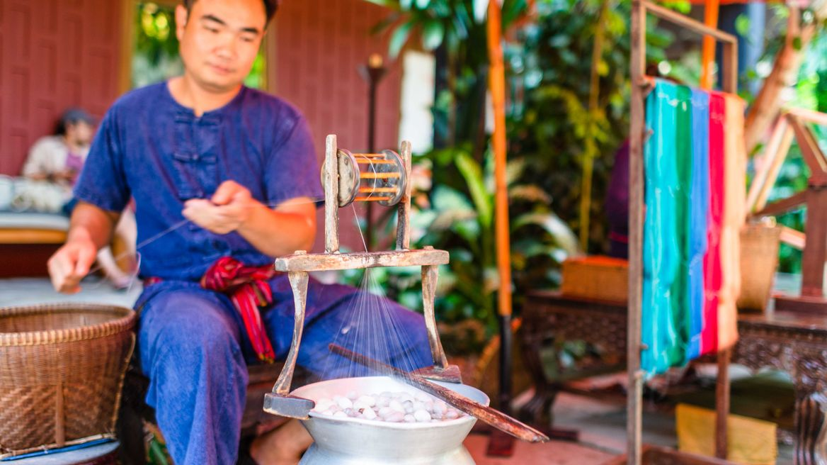 See how to thread the silk at Jim Thompson House