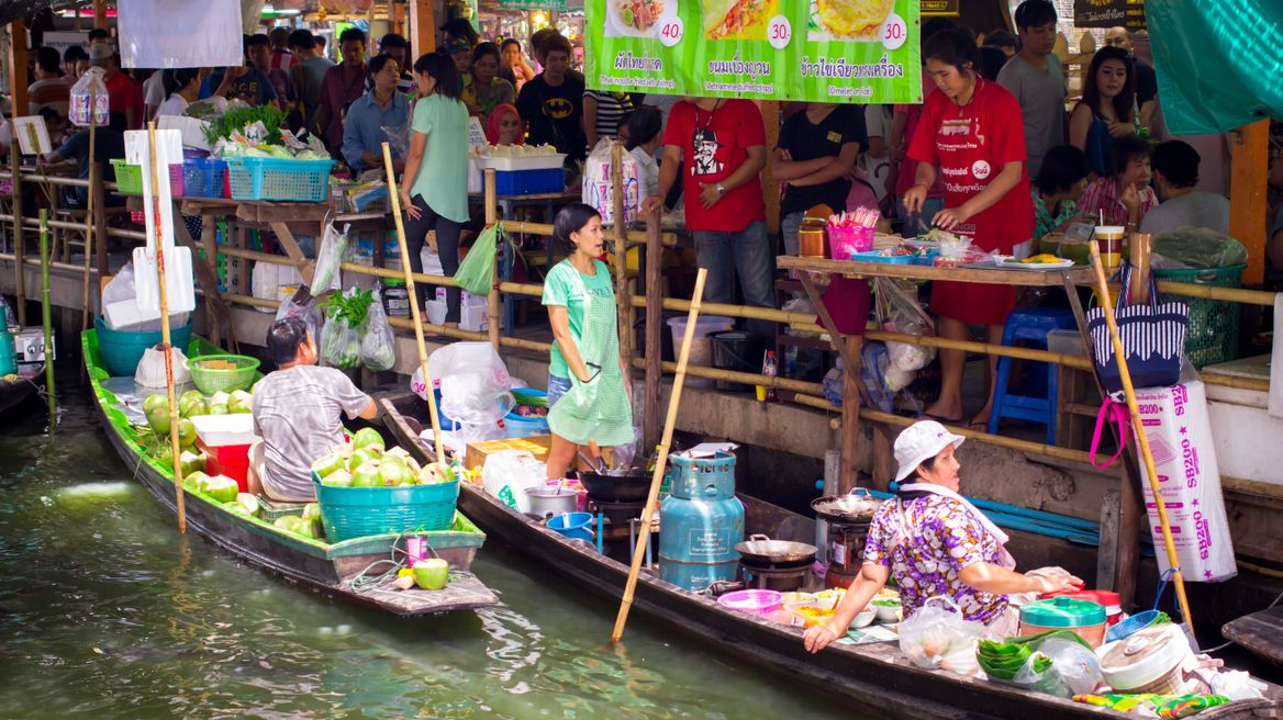 Vendors on the boat
