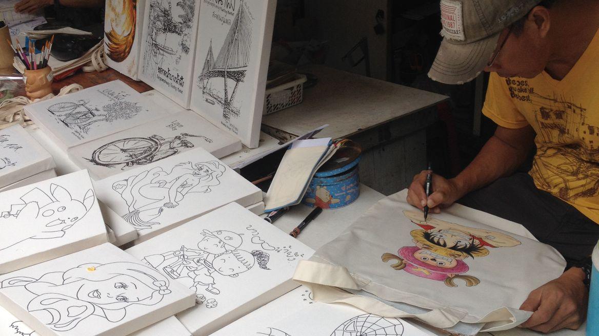 Art work at the Bang Namphueng Market