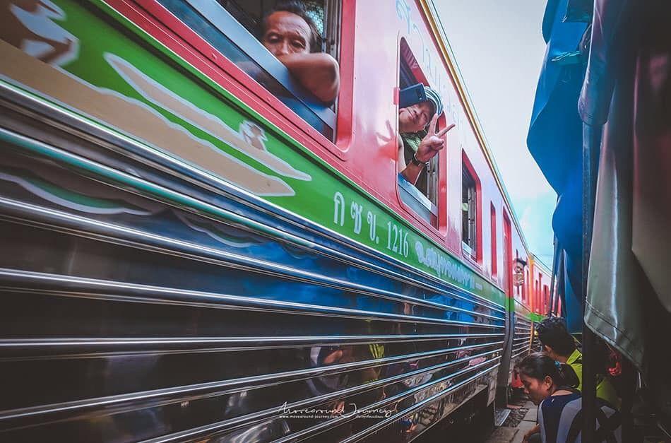 Train passing through the market