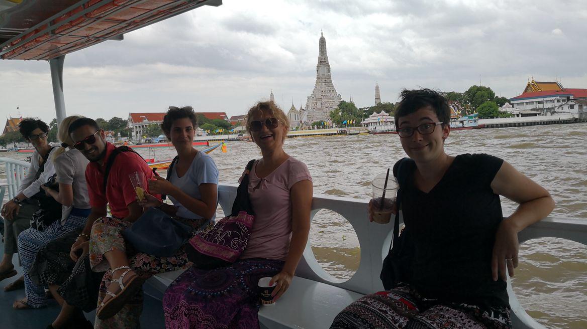 Across Chao Phraya river.