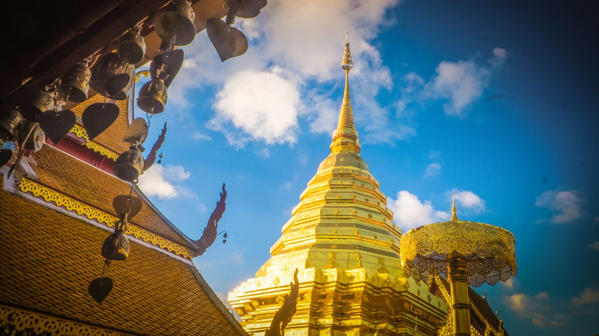 At Doi suthep land mark Temple conner