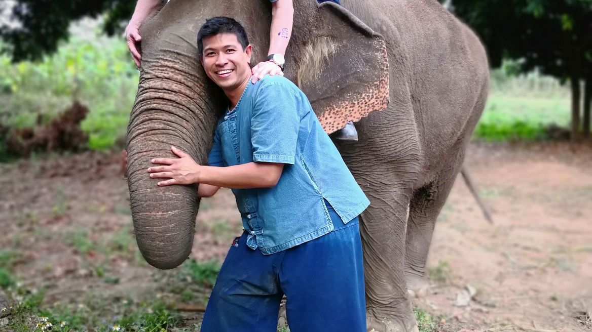 Riding elephant.