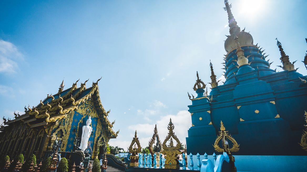 Blue temple scene