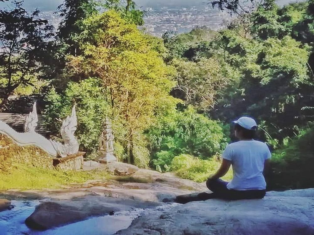 Sitting or do meditation at the hidden temple on the waterfall.