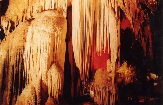 the fantastic stalactite in the cave