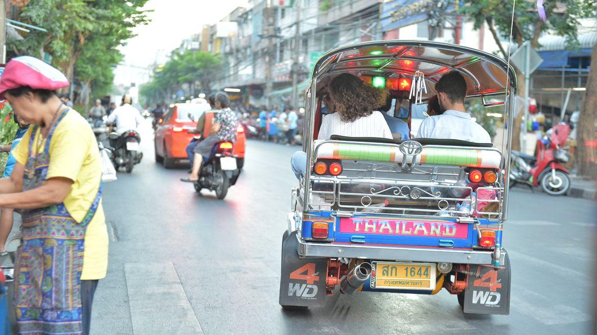 Rides on Thai tuk-tuk