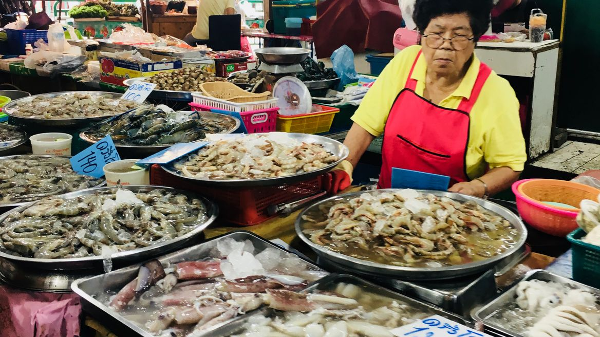 Fresh seafood at local market