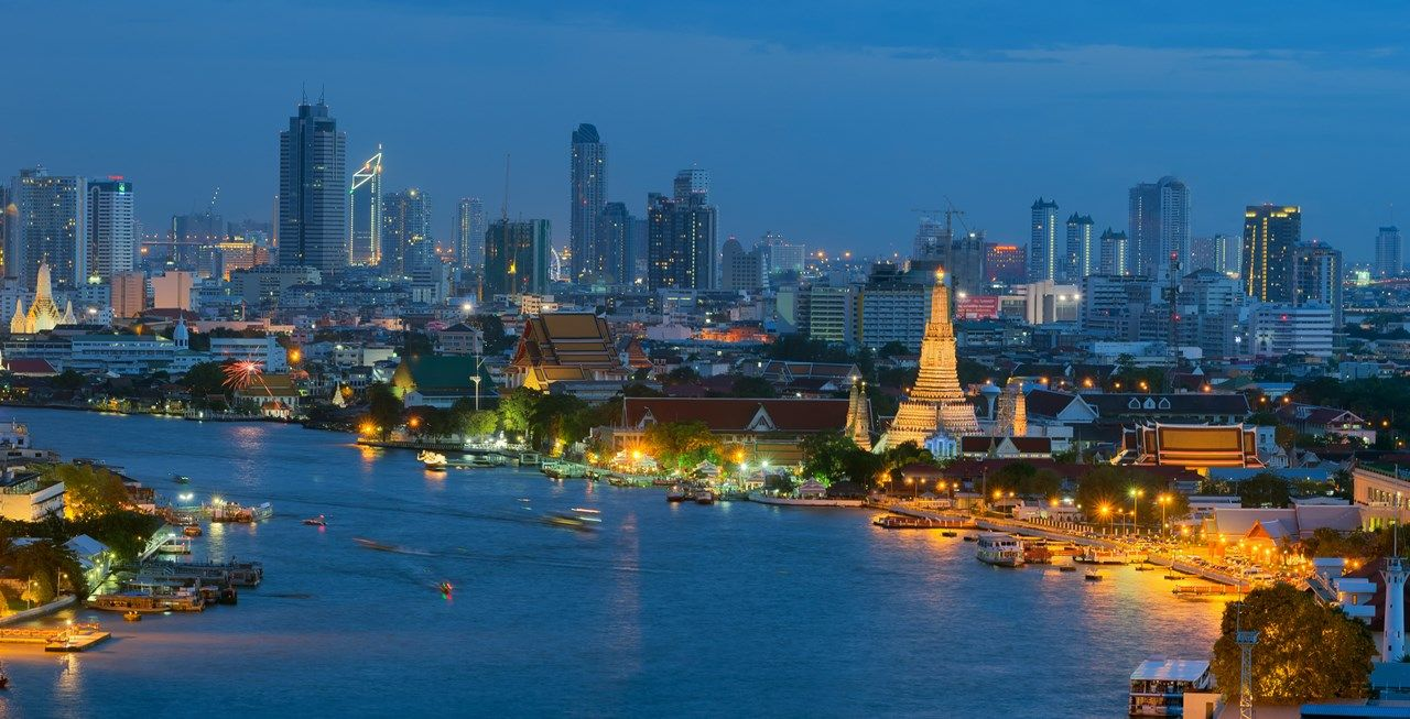 Chao Phraya river view at night