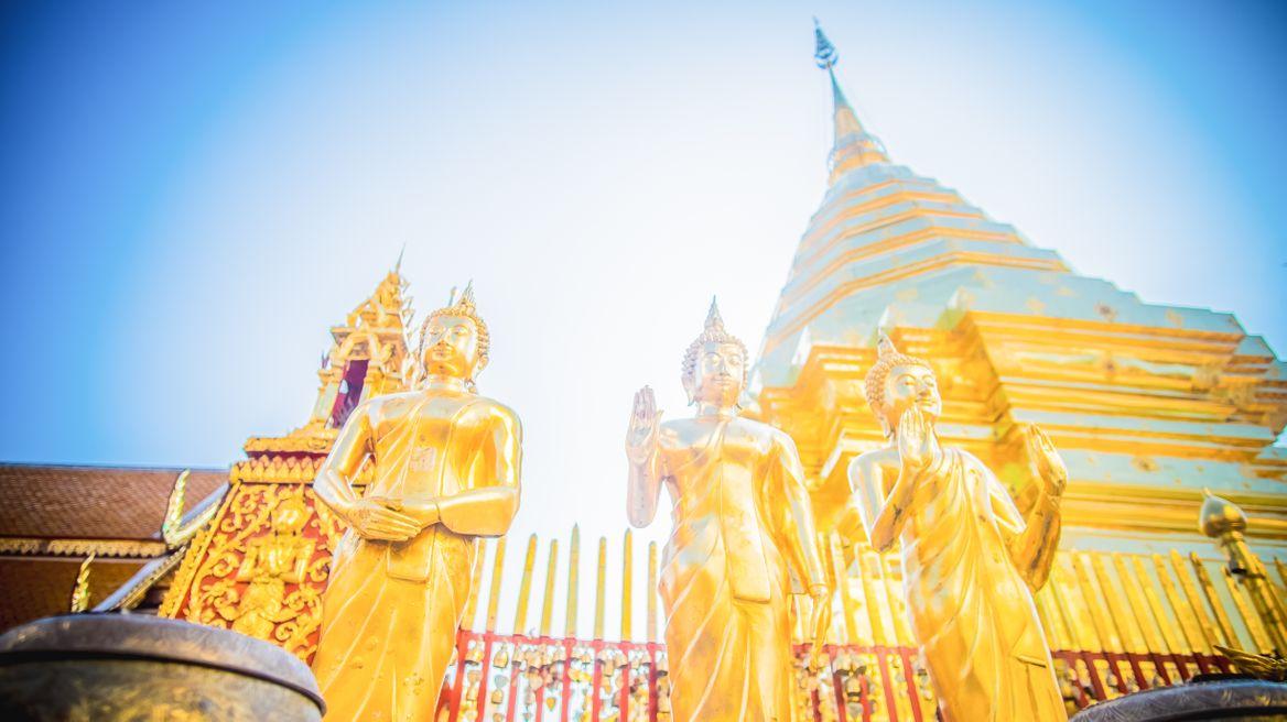 At Doi suthep Temple pagoda