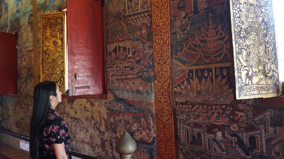 "Beautiful mural painting at ""Wat phra singh"""