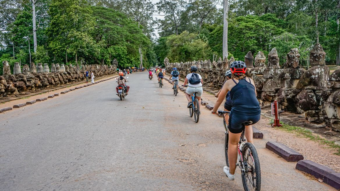 Biking across Bayon temple