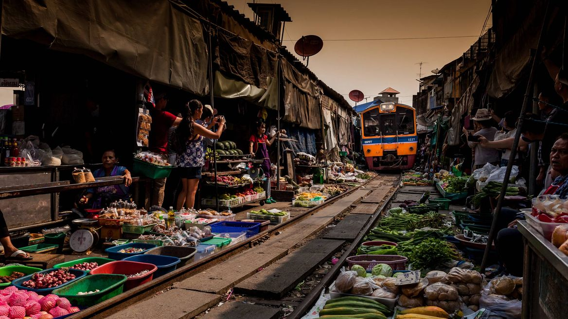 Local Market Traversed by Railway