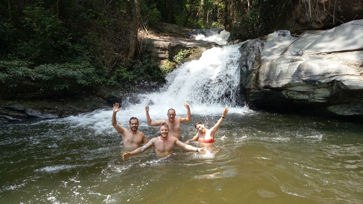 Swimming in waterfall