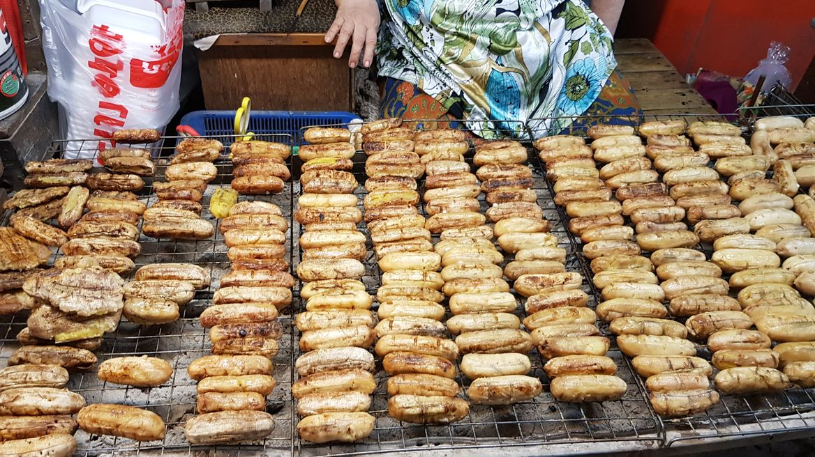 Thai street food: grilled banana