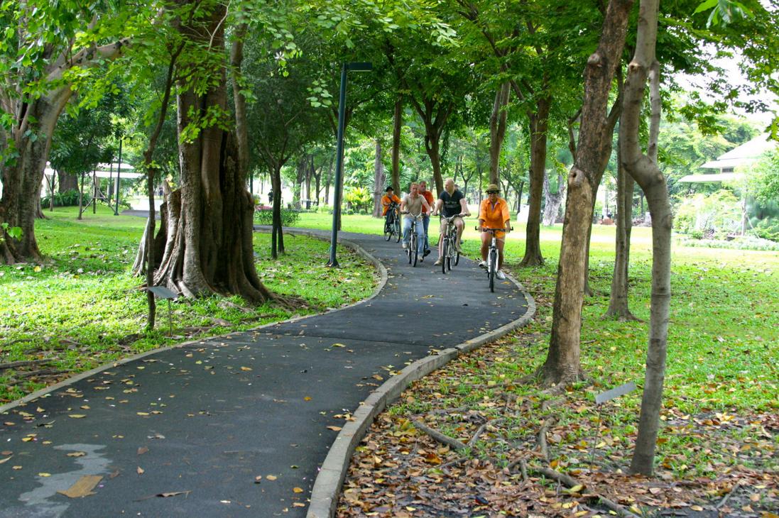Ride through a public park