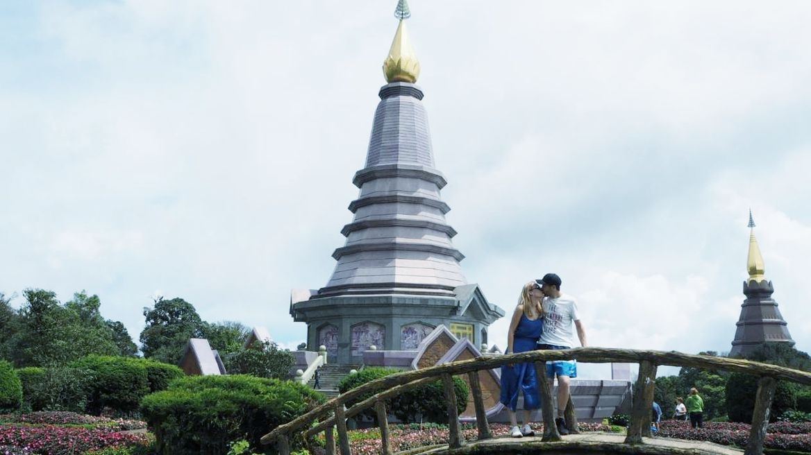 The twin pagodas of The King and The Queen were located on the top of the highest mountain of Thailand