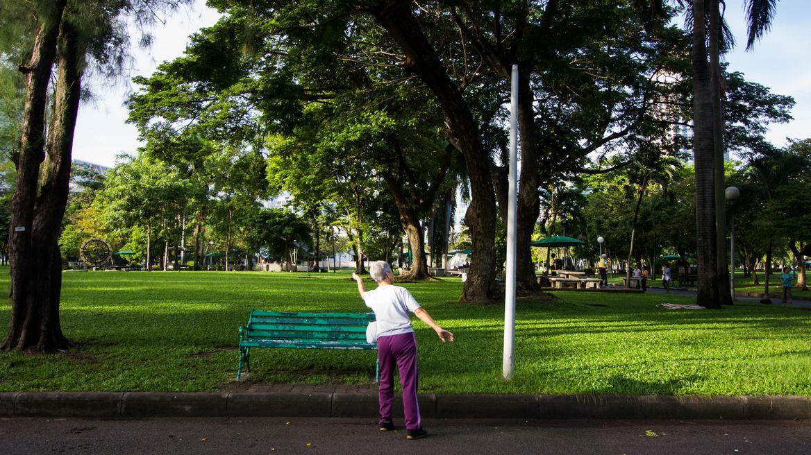 Grandma doing her morning exercise