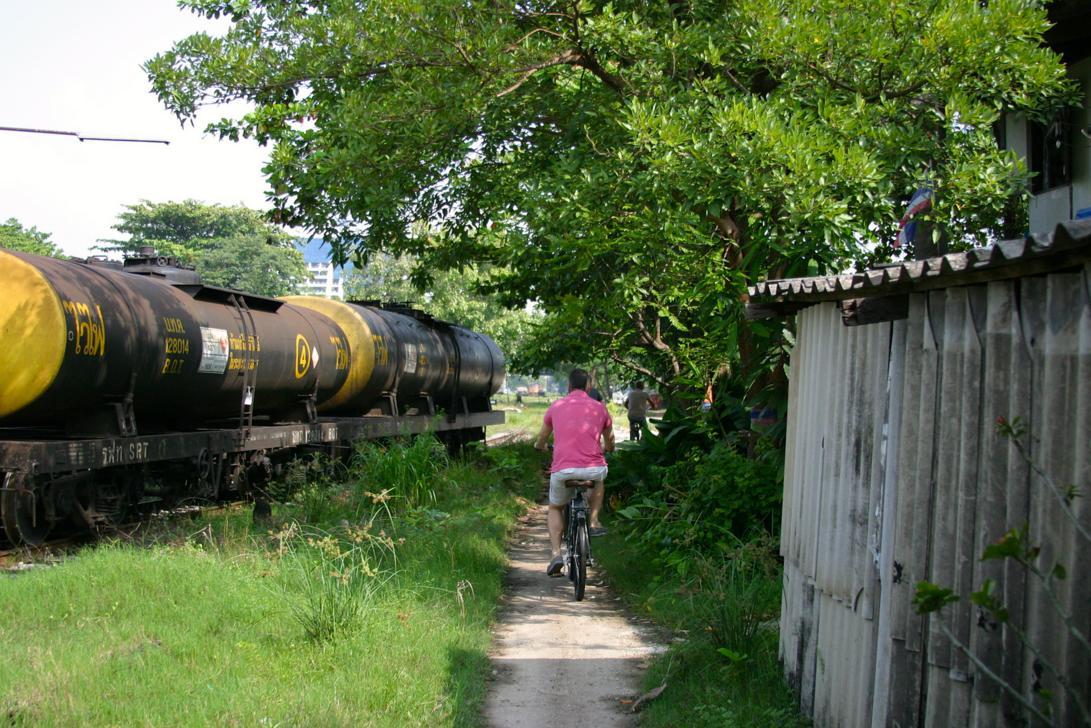 Cycling along the train graveyard