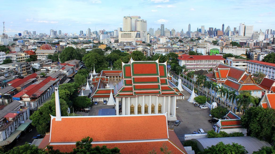 View over Bangkok seen from Wat Saket (Temple of the Golden Mount)