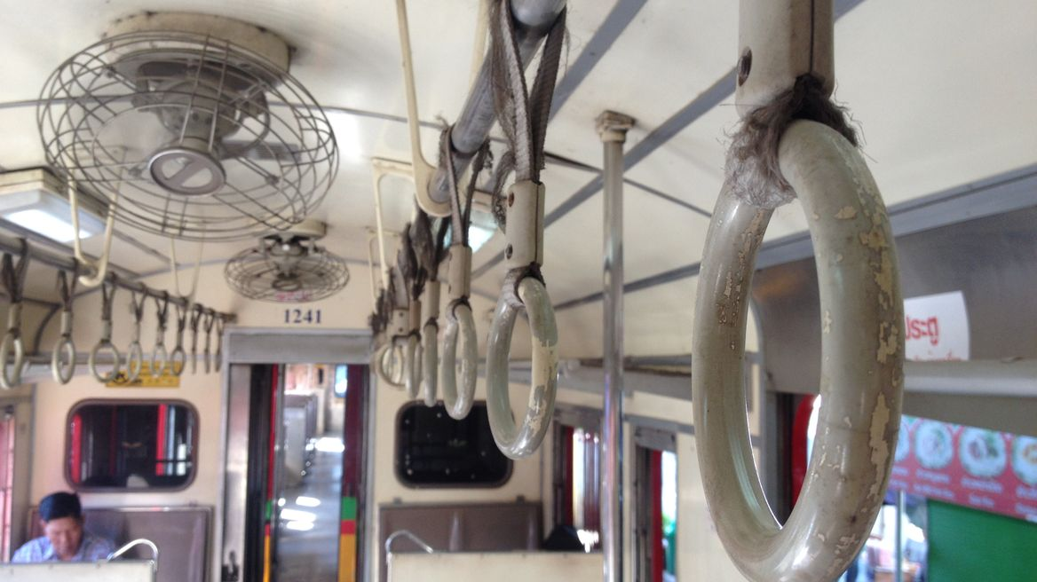 Inside of the Maeklong train
