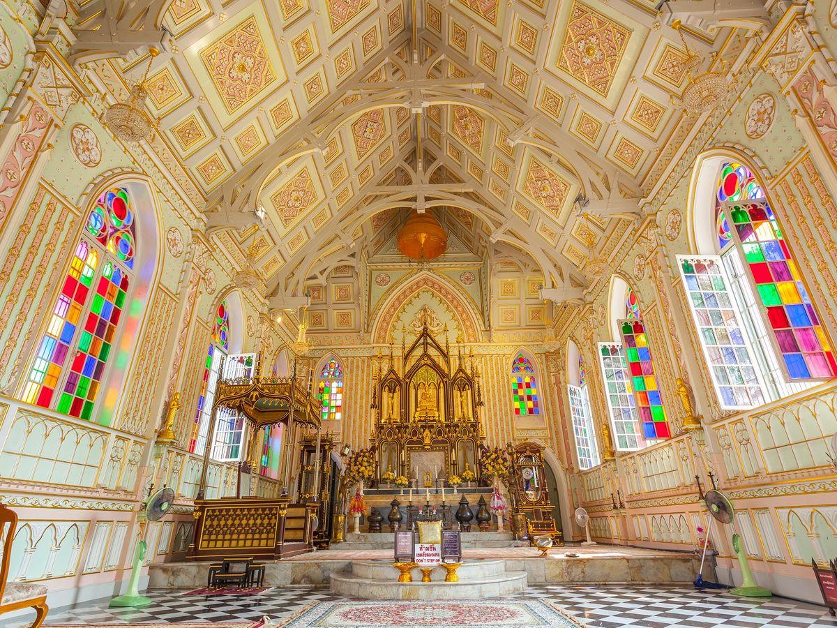 Interior of  Wat Niwet Thammaprawat, Ayutthaya, Thailand