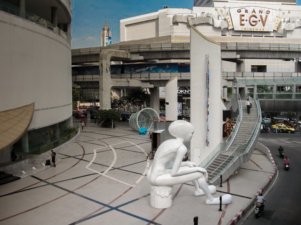 Giant statue in front of Cultural Centre, National Stadium station in Bangkok, Thailand