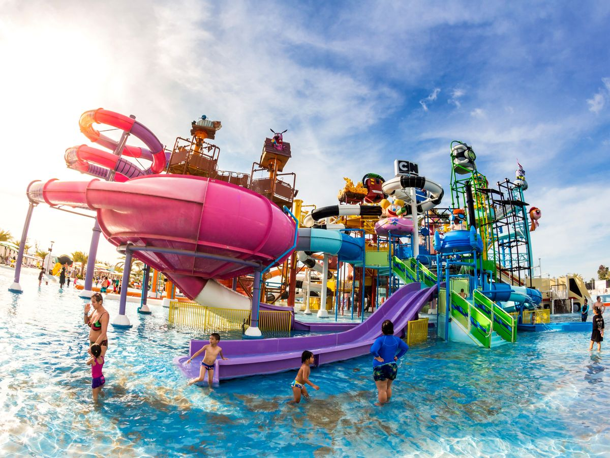 Colorful and massive water slides at Cartoon Network Amazone Water Park - best theme parks and water parks in thailand