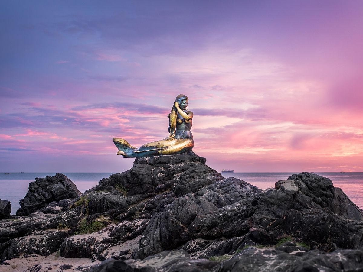 Golden Mermaid Statue, Samila Beach, Songkhla, Thailand