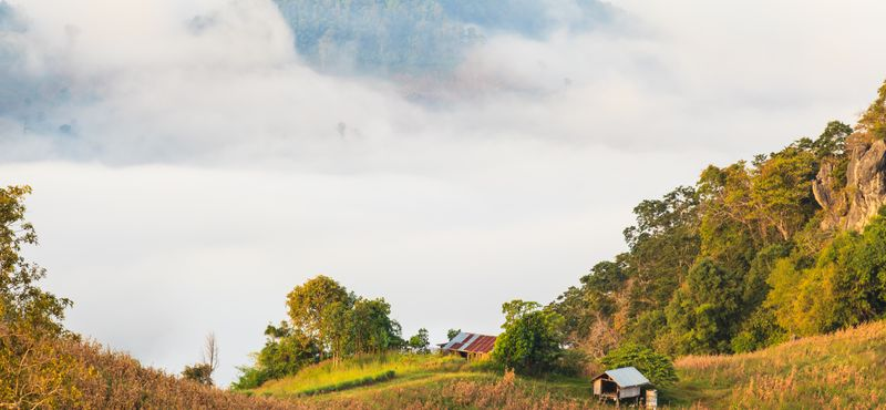 The mist and the mountains seen from Doi Samer Doi in Nan